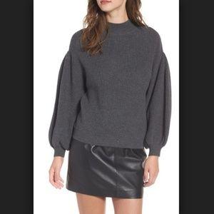 Leith Grey Knit Blouson Sleeve Sweater X-Small